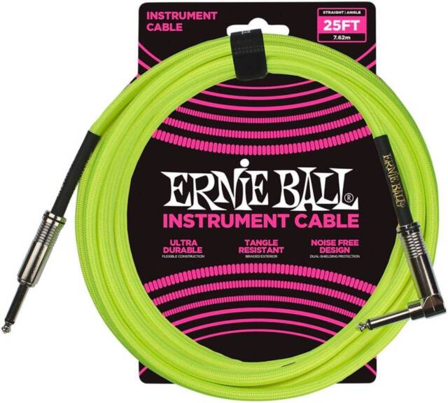 Ernie Ball 25/' Braided Instrument Cable Neon Yellow P06057