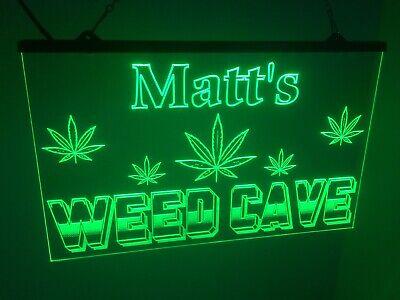 Marijuana Man Cave Custom Led Light Sign Seller Game Room u.s personalized