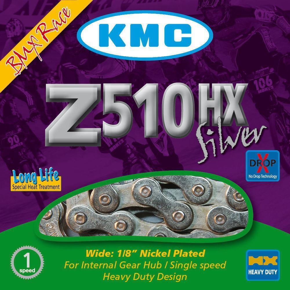 Kmc Z510hx Cadena silver para Bmx y Solo Velocidad Bicicletas