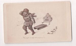 Vintage-CDV-Album-Filler-Cartoon-The-Girl-I-Left-Behind