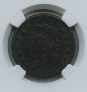 """1814 Large Cent Crosslet 4 S-294 Super Scarce AU Details NGC """"corrosion"""" noted"""