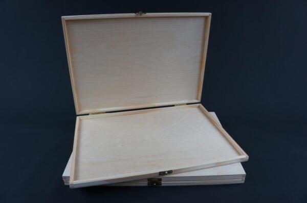 1 X Plain Wooden Brush Case Trinket Keepsake Memory Chest Trunk Box P39 Kortingen Sale