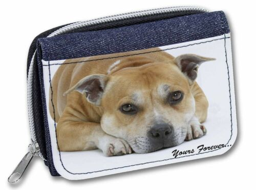 AD-SBT8JW Red Staffie Dog /'Yours Forever/' Girls//Ladies Denim Purse Wallet Chris