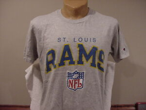 VINTAGE St. Louis Rams Old Colors Men s Lg Grey Champion T-Shirt ... ecbb5b1f0