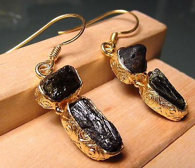 925 solid sterling silver with gold plate, rough dark tourmaline earrings.
