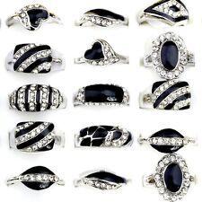 10Pcs Wholesale Lots Mixed Fashion Jewelry Crystal Rhinestone Silver Plate Rings