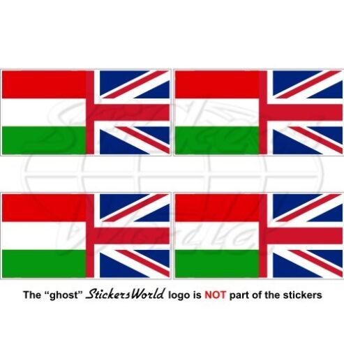 Hungarian-United Kingdom British Union Jack 50mm Stickers x4 HUNGARY-UK Flag