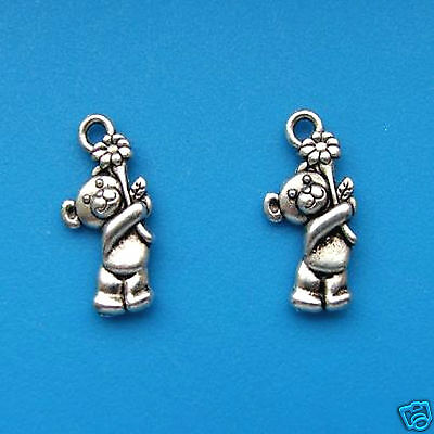 100 Tibetan Silver 3D Teddy Bear Flower Charms