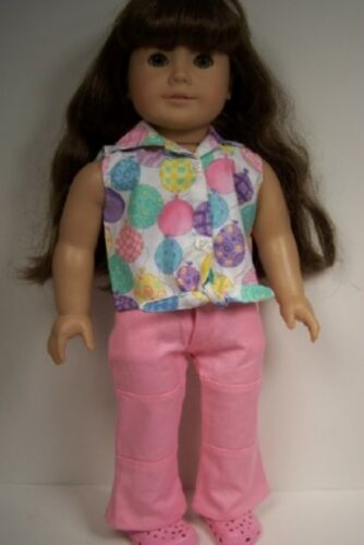 """Debs PINK Pants BALLOON Tie-Shirt-Top Doll Clothes For 18/"""" American Girl"""
