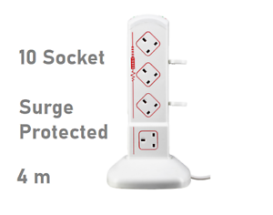 WITH DEFECT /> Masterplug 10 Socket Surge Protected 4m Extension Lead White tower