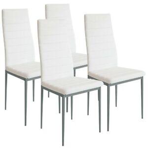 Set 4 Sedie Moderne Sala Pranzo Salotto Cucina Seduta Imbottita Ecopelle Bianco Ebay