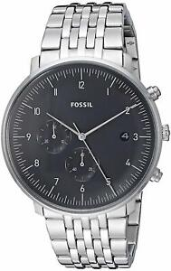 Fossil-FS5489-Men-039-s-Chase-Timer-Chronograph-42mm-Black-Dial-Steel-Watch