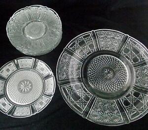 Crystal-Cut-Glass-Plate-Dish-Dinner-Dessert-Clear-Salad-Saucers-Fruit-Lot-8