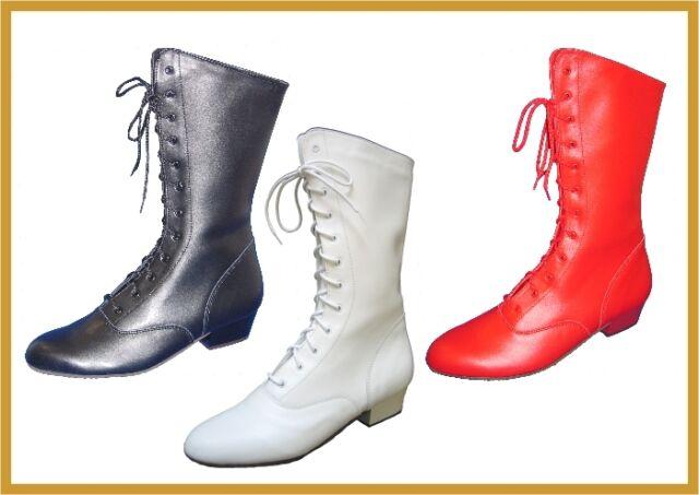 IWA Tanzstiefel Gardestiefel Mariechenstiefel Leder rot weiß 2010 neu Karneval