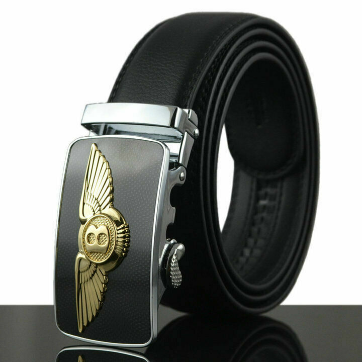 Luxus Herren Echtes Leder Gürtel Automatik Schnalle Ledergürtel Ratchet Jeans