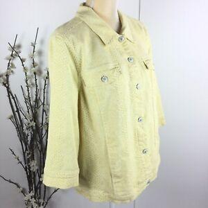Denim-Company-Women-Size-L-Yellow-Snake-Print-3-4-Sleeve-Jean-Jacket
