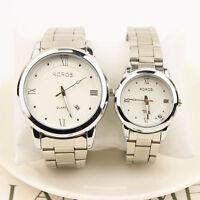 Fashion Men Women Roman Numerals Date Stainless Steel Analog Quartz Wrist Watch