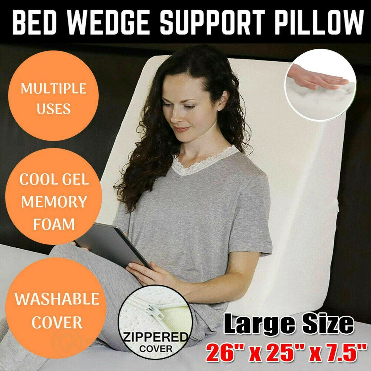 Adjustable Bed Wedge Pillow W/ Memory Foam For Reflux Alleviates Neck Back Pain 1
