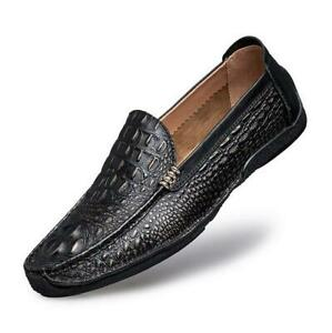 757f7df279 Image is loading Chic-Mens-Genuine-Leather-Shoes-Alligator-Casual-Slip-