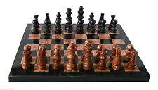 Scacchiera con Intarsi Marmo Rosso e Nero Marble Inlays Chessboard Chess 20x20cm