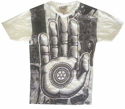 DN15 Yoga Men T Shirt Buddha Ganesha Lotus  India OM PALM Hobo Boho  L RARE Sure
