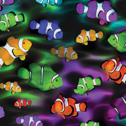 Fat Quarter Life/'s a Beach Rainbow Clownfish Fish 100/% Cotton Quilting Fabric
