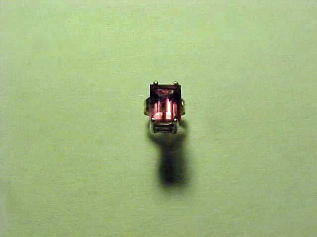 STERLING SILVER & Emerald Cut DEEP PINK TOURMALINE EARRING .76 ct