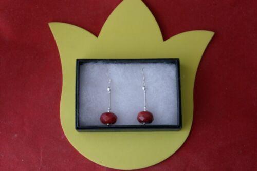 en Caja 925 Ganchos De Plata Hermosa pendientes con jaspe rojo 9 gramos 4.5 Cm Largo