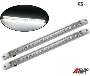 2-X-12-V-18-LED-Blanco-Coche-Furgoneta-Vehiculo-Auto-Interior-Techo-Lampara-Luz-de-techo-domo