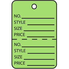 1 34 X 2 78 Green Perforated Printed Garment Tags 1000case
