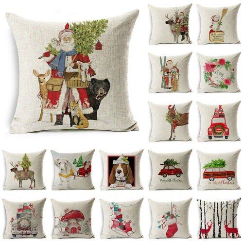 BG/_ Christmas Dog Linen Cushion Cover Throw Pillow Case Sofa Bed Home Decor Envy