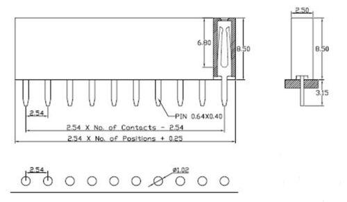 200Pcs 2.54mm Pitch 2 Pin Female Single Row Straight Header Strip PH 8.5mm
