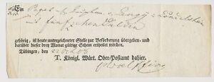 Vorphilatelie-1808-Tuebingen-T-Koenigl-Wuerttemberg-Ober-Postamt-dahier-Quittung