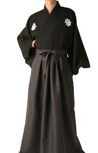 Japanese-Men-039-s-Kimono-Ryoma-Sakamoto-Samurai-Bushi-costume-Jacket-Pants-Hakama