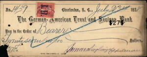 1898 Charleston South Carolina (SC) The German American Trust and Savings Bank C