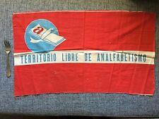 Territorio Libre De Analfabetismo Original 60's Cuban Revolution Flag Rare Cuba