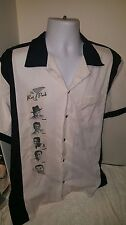 Rat Pack Frank Sinatra Men's XL Buttton Down Bowling Shirt USA Black White