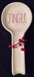 NEW-Rae-Dunn-JINGLE-Christmas-Spoon-Rest-RED-LETTER-Holiday-Kitchen-Decor-HTF