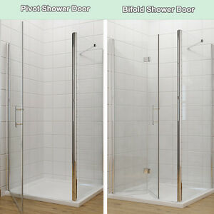 Details About Frameless Bifold Pivot Shower Enclosure With Tray Gl Cubicle Door Side Panel