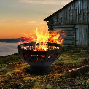 Laser-Cut-Black-Metal-Half-Round-Fire-Bowl-Pit-Firepit-Patio-Heater-Flame-Scene