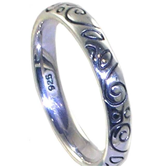 BALI_ ELEGANT ENGRAVED SCROLL STACK RING SZ 6___925 Sterling Silver