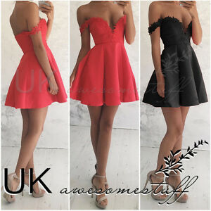 ... Skater Dress Night-Out Dresses  incredible prices 27e36 1e611 Image is  loading UK-Womens-Bodycon-Bandeau-Dress ... 644175c924