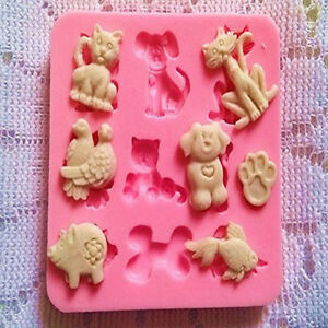Cat-Animal-Lover-Dog-Pig-Cake-Silicone-Mould-Cupcake-Topper-Decor-Fondant-Mold