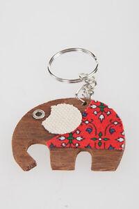 Image is loading Elephant-Handmade-fabric-keyring-ideas-Wooden-animal-charm- c7ac43f4d8c5