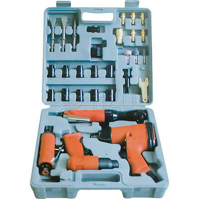 34PC AIR IMPACT TOOL GUN WRENCH SOCKETS RATCHET BODYSHOP MOULDED STORAGE CASE