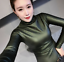 Womens-Vogue-Slim-Warm-PU-Leather-Tops-Casual-Turtleneck-Blouse-Plus-Shirt-New thumbnail 10