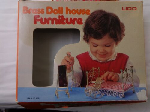 Vintage Lido Brass Doll House Furniture in Original Box