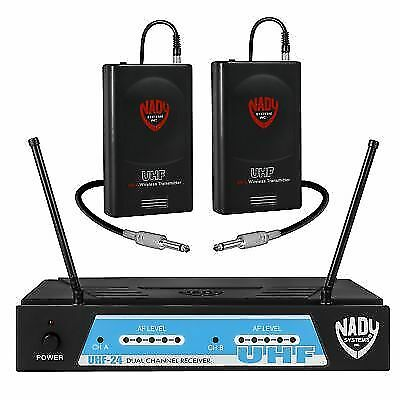 nady uhf 24 wireless dual instrument guitar system with true diversity for sale online ebay. Black Bedroom Furniture Sets. Home Design Ideas