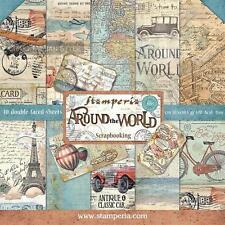Blocco 10 Carte Scrapbooking 30x30 cm Around the World © Stamperia SBBL28