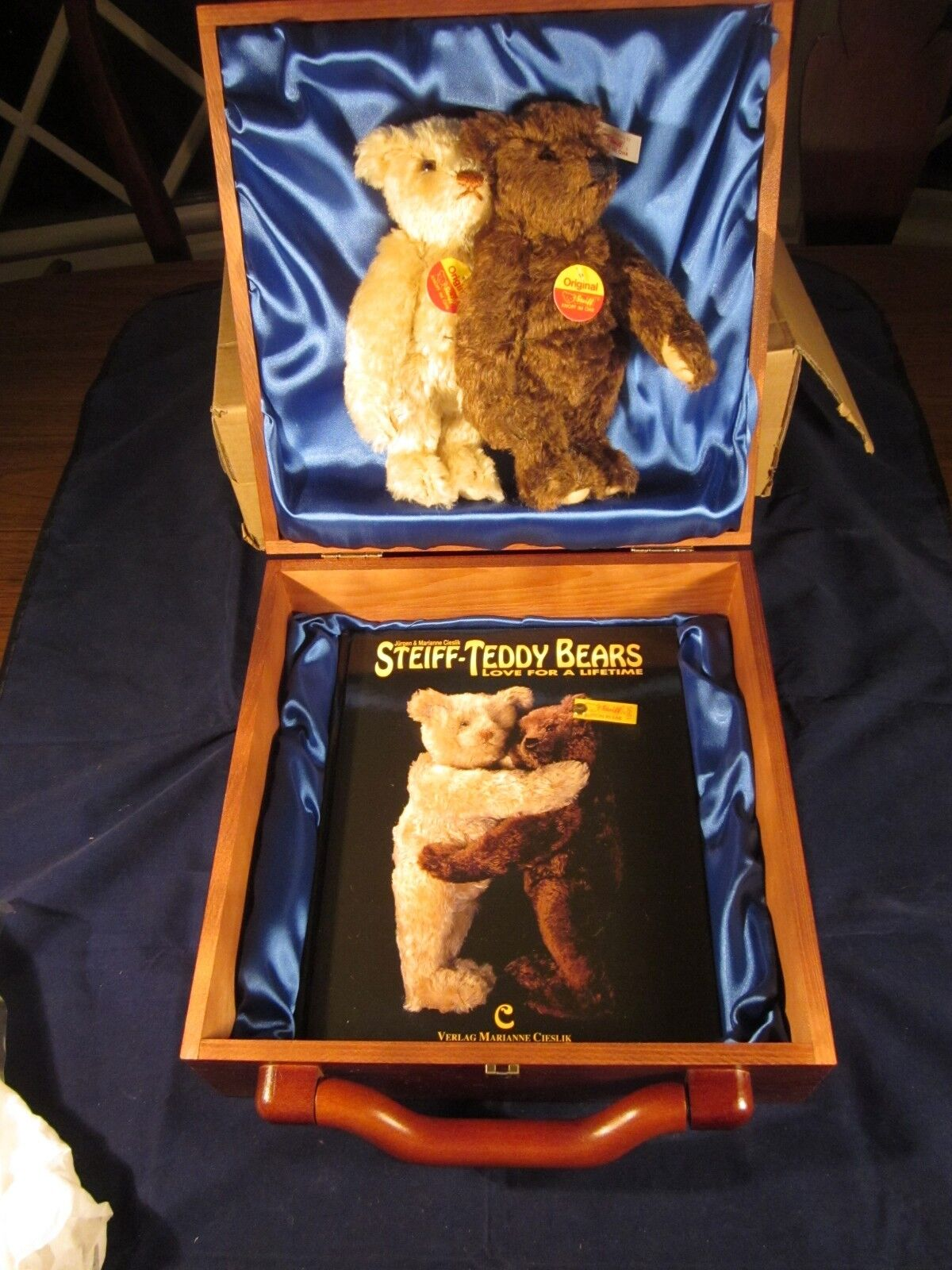 STEIFF 2 Bear Wood Boxed Set  152 LIMITED EDITION  NEW with TAG in BOX